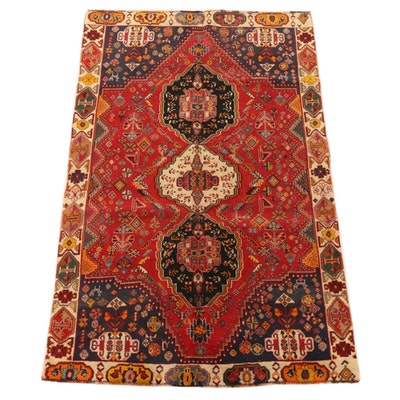 5'4 x 8'9 Hand-Knotted Persian Qashqai Wool Area Rug