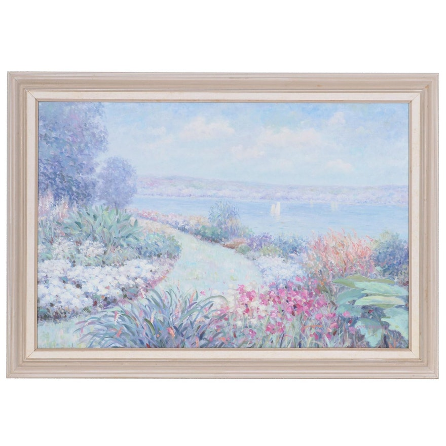 Ray Thomas Impressionist Style Landscape Oil Painting, 21st Century