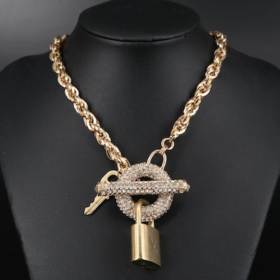 Louis Vuitton Lock and Key on Chain Necklace