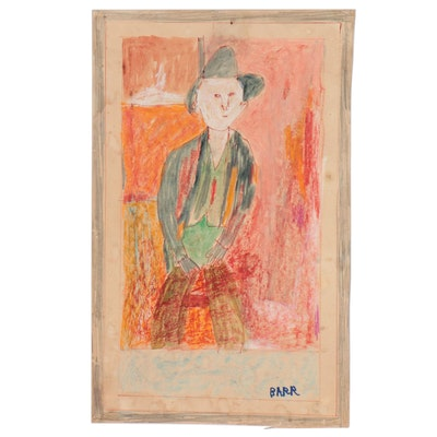 Chuck Barr Abstract Mixed Media Painting of Cowboy, Late 20th Century