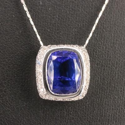 14K 6.30 CT Tanzanite and Diamond Pendant Necklace