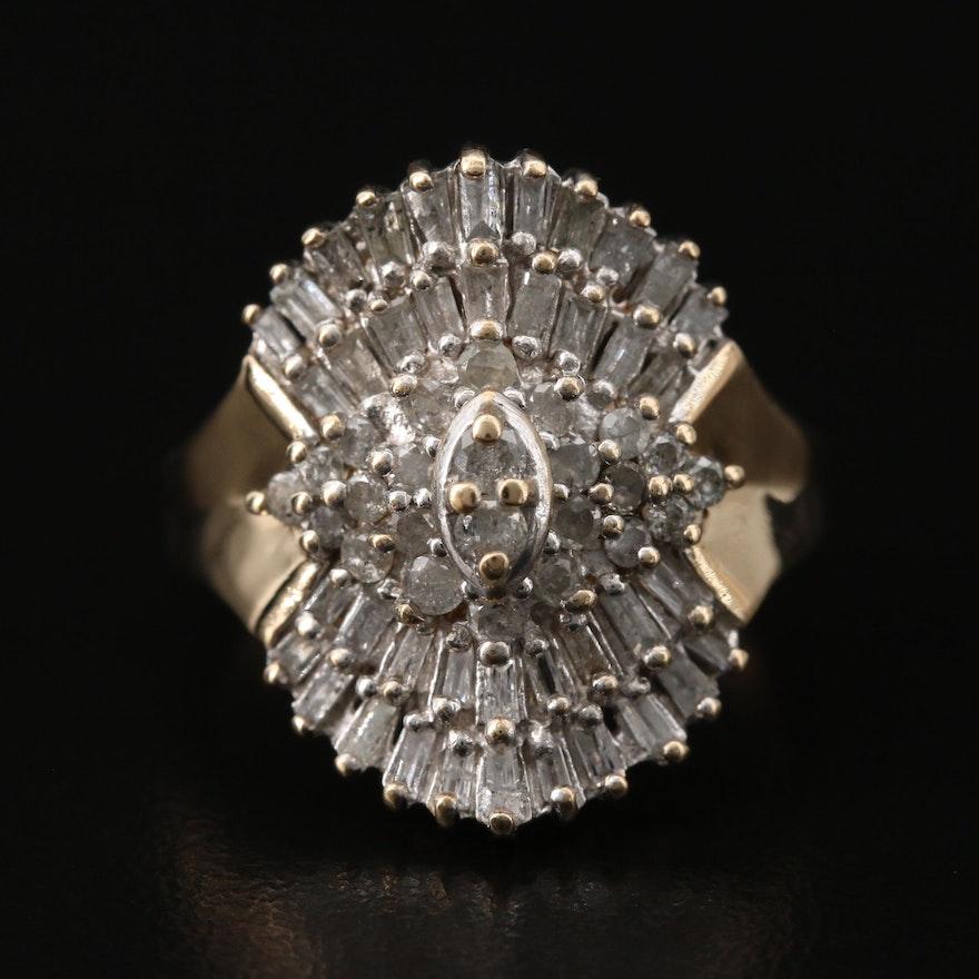 10K 1.42 CTW Diamond Cluster Ring