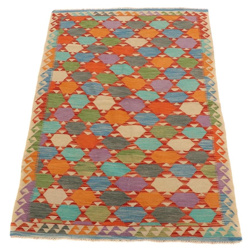 4'3 x 6'5 Handwoven Afghan Village Kilim Area Rug