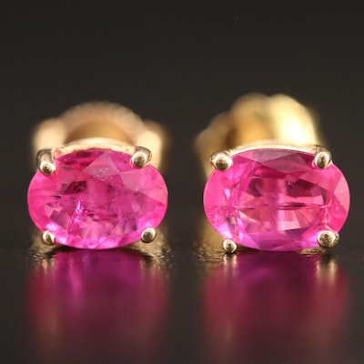 14K 2.30 CTW Oval Ruby Stud Earrings
