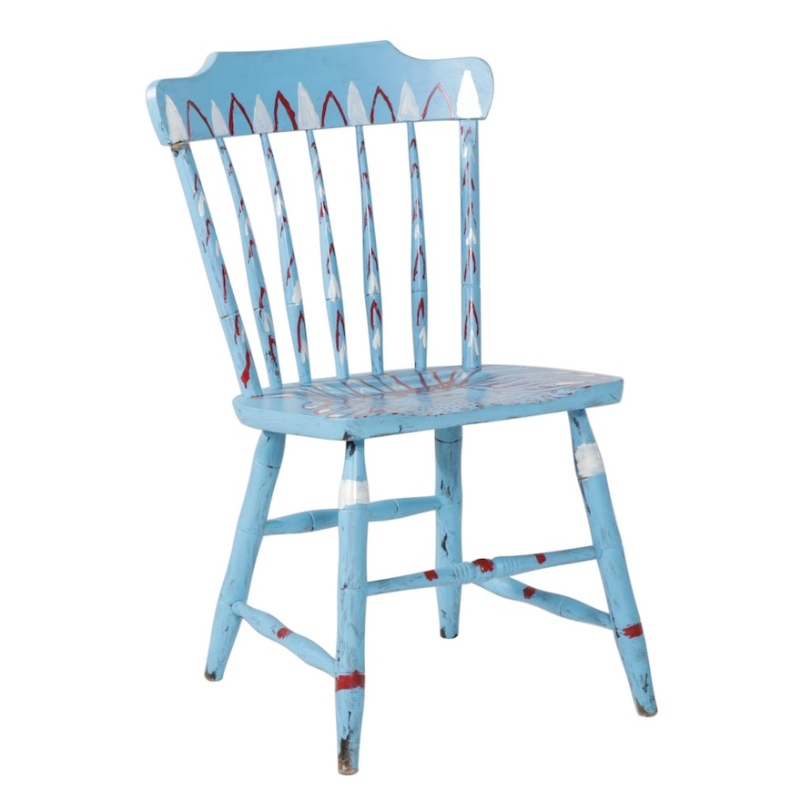 Rick Borg Hand Painted S. Bent & Bros Wood Side Chair, 2009
