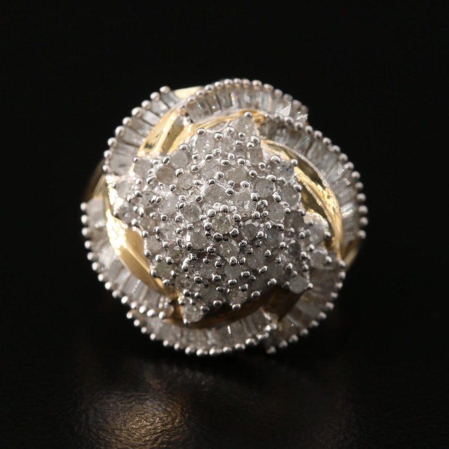 10K 1.00 CTW Diamond Swirl Cluster Ring