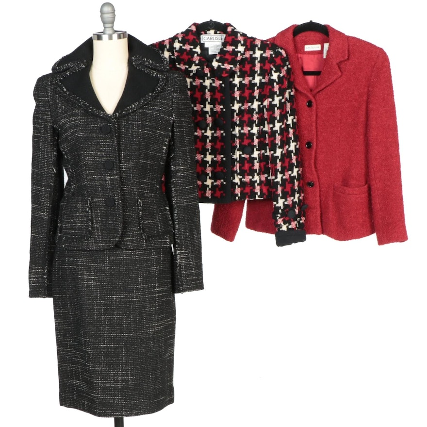 Ann Taylor Wool Blend Skirt Suit and Red Jacket with Carlisle Wool Blend Jacket