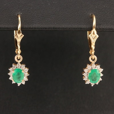 14K Emerald and Diamond Dangle Earrings