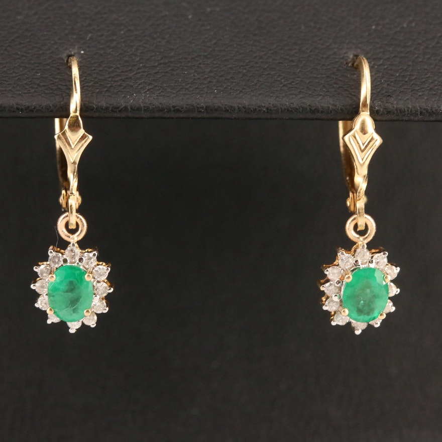 14K Emerald and Diamond Dangle Earrings