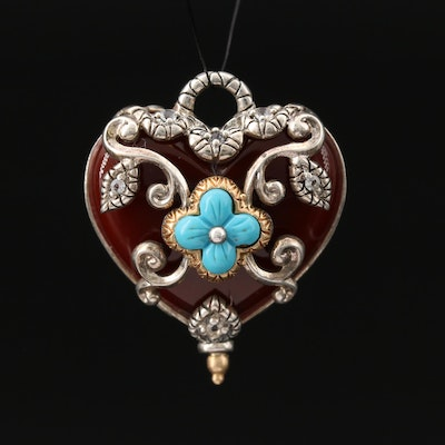 Barbara Bixby Sterling Carnelian Reversible Heart Pendant with 18K Accent