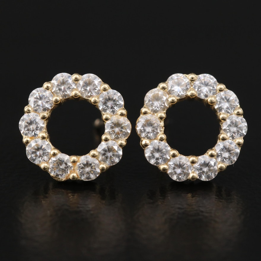 14K Cubic Zirconia Circle Stud Earrings