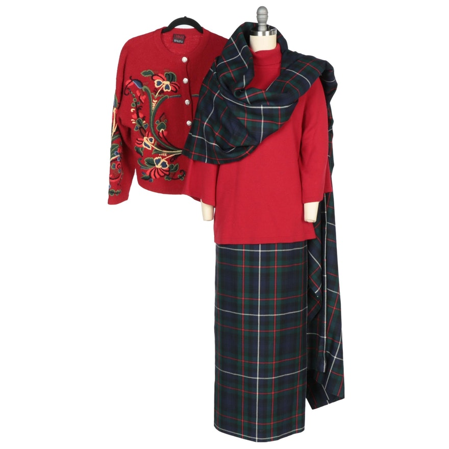 Eileen Fisher and Vrikke Sweaters with Handmade Plaid Skirt and Extra Yardage