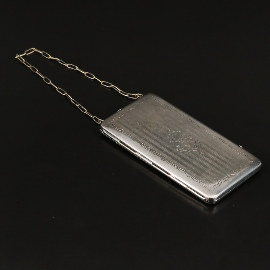 Engine Turned and Monogramed Silver Plate Compact, Early 20th Century