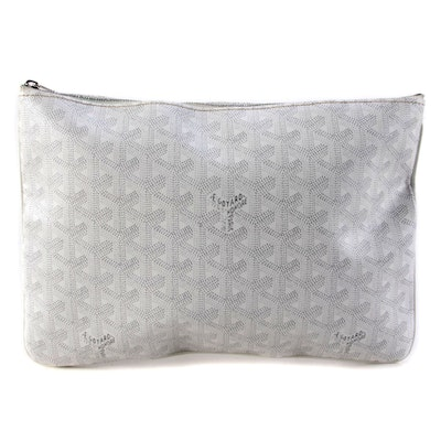 Goyard Senat Pochette MM in White Goyardine Coated Canvas