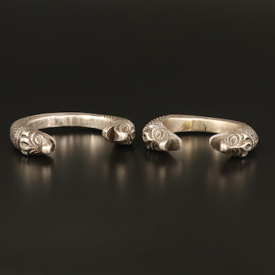 Indian Sterling and 800 Silver Makara Bangles