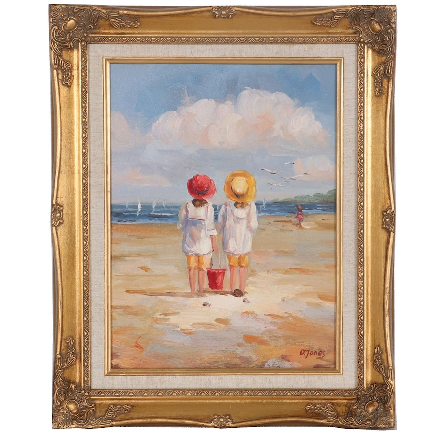 Oil Painting of Two Kids at the Beach, 21st Century