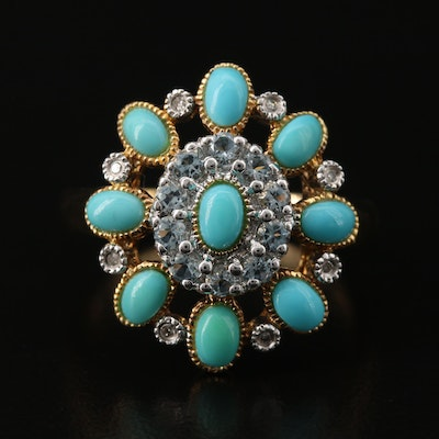 Sterling Turquoise, Cubic Zirconia snif Diamond Ring