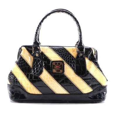 Renaissance Leather Goods Croc Embossed Leather Striped Purse