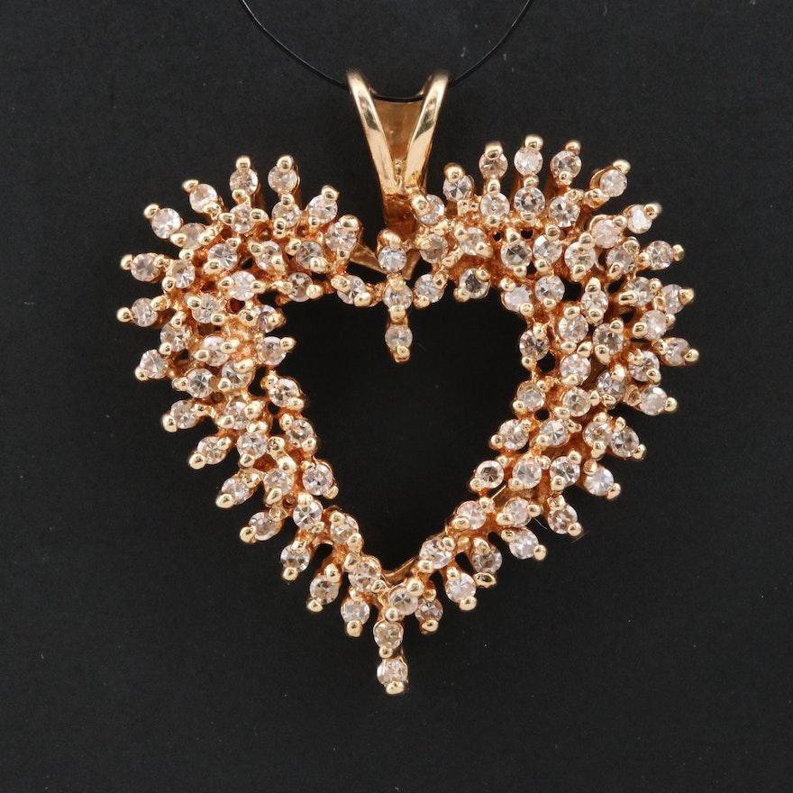14K 1.00 CTW Diamond Heart Pendant