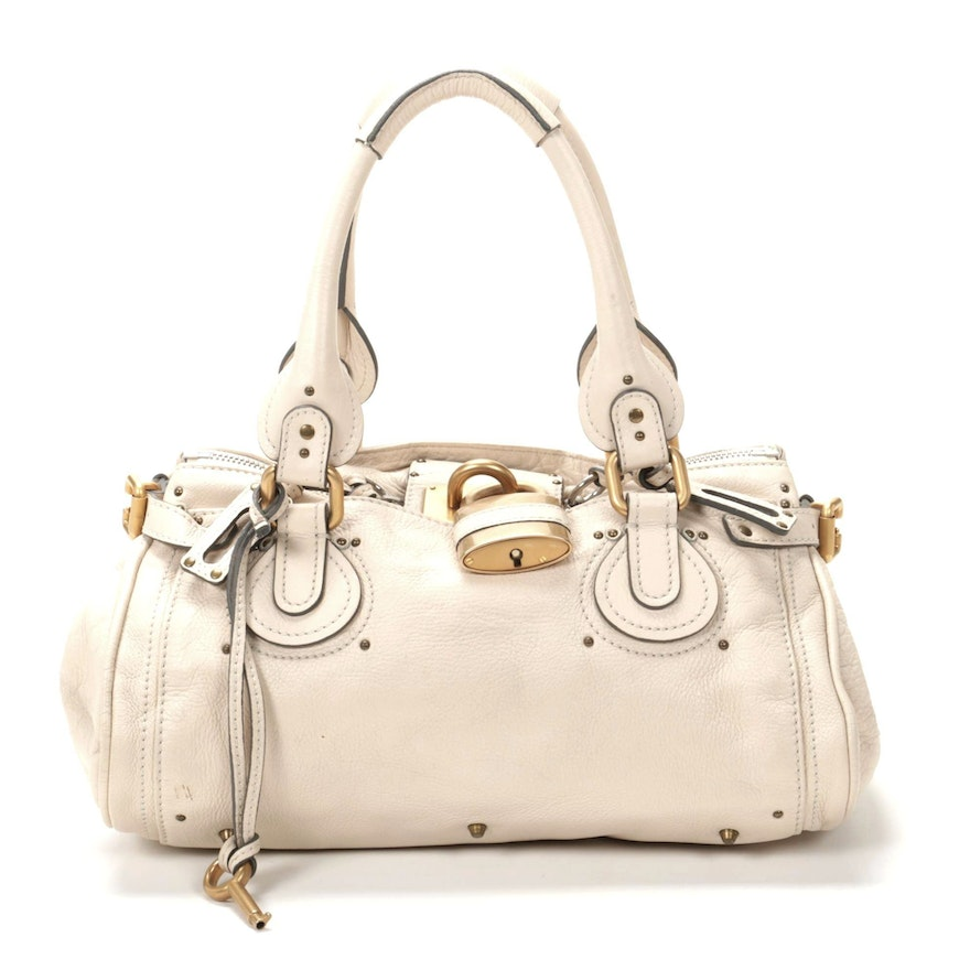 Chloé Paddington Medium Satchel in Ivory Grained Leather