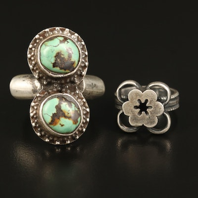 Sterling Flower and 900 Silver Turquoise Rings