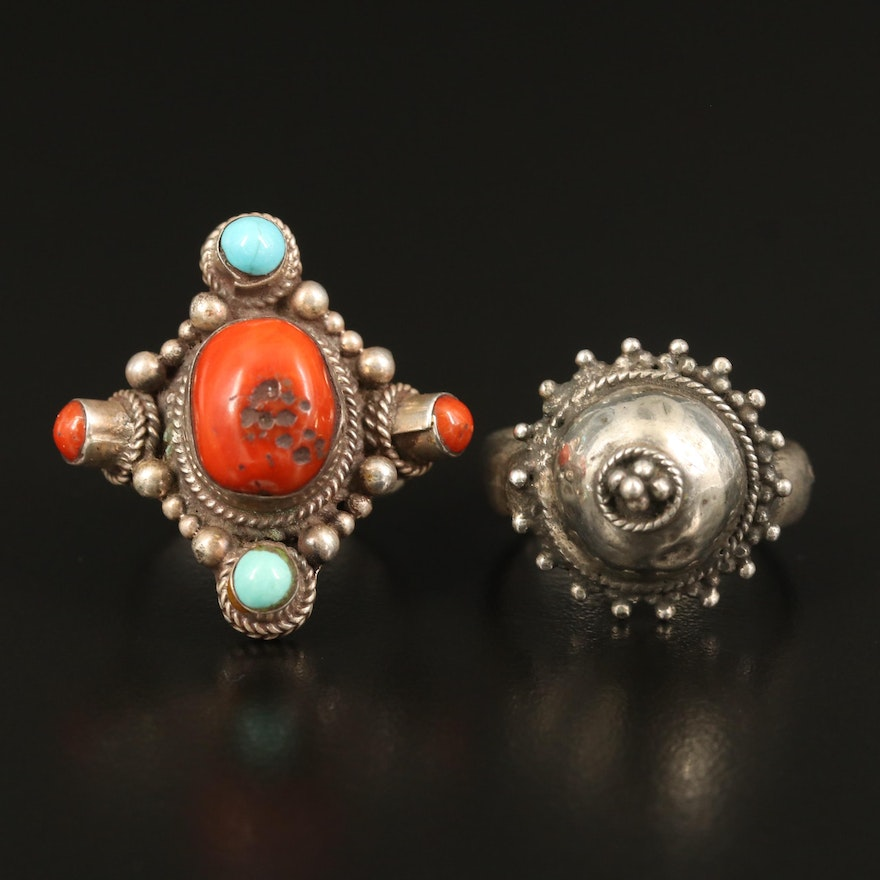 Tibetan Sterling Coral and Turquoise Ring with 850 Silver Dome Ring