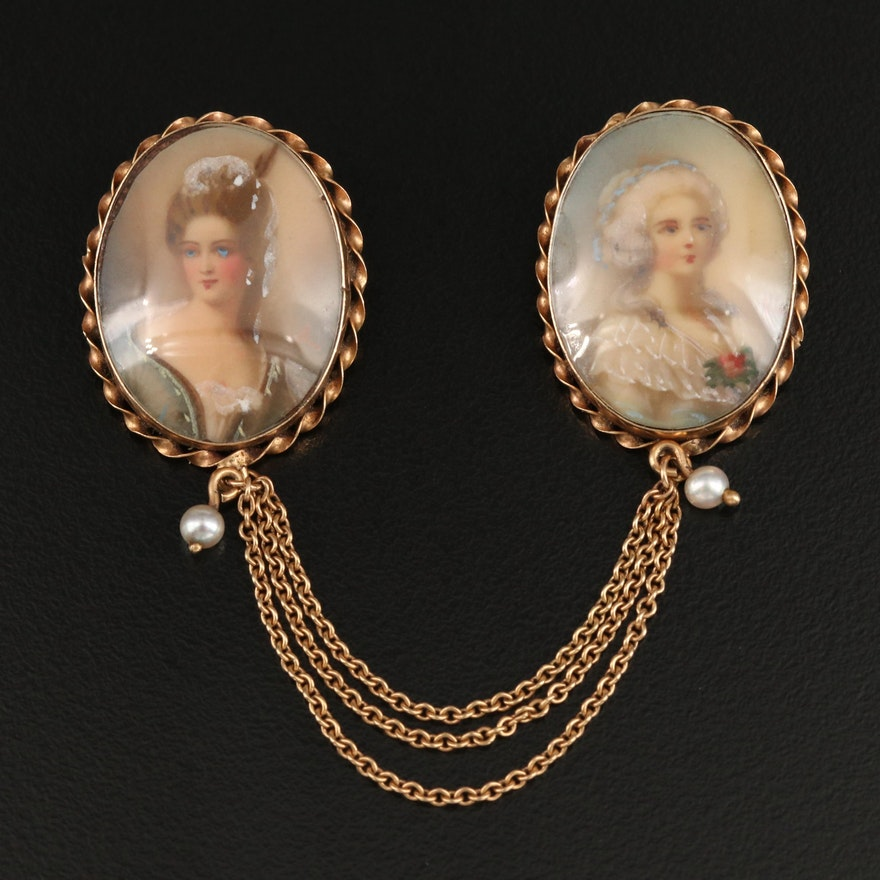 Vintage 14K Hand Painted Portrait Brooches with Braided Edges