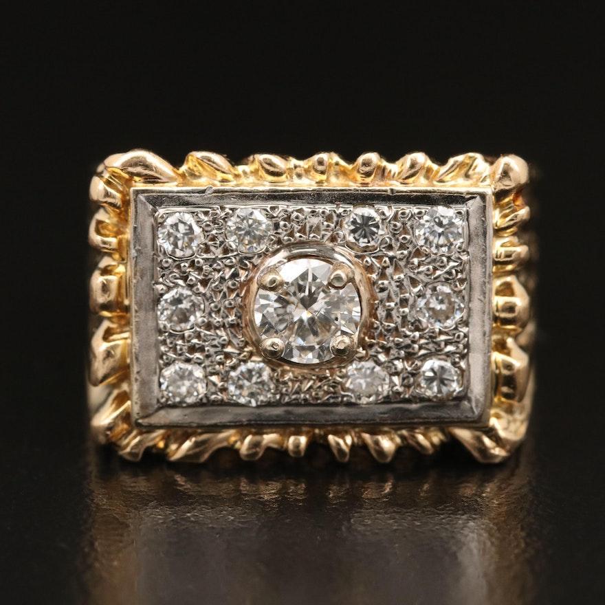 10K Diamond Ring with 14K Top