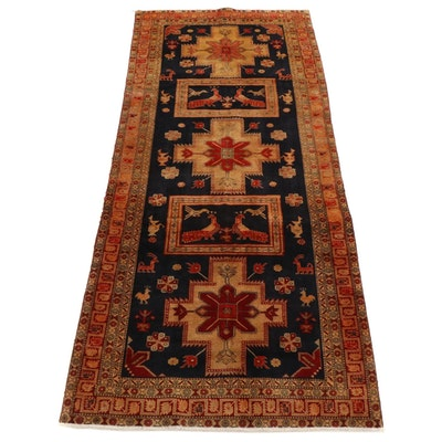 4'7 x 10'6 Hand-Knotted Caucasian Kazak Pictorial Long Rug