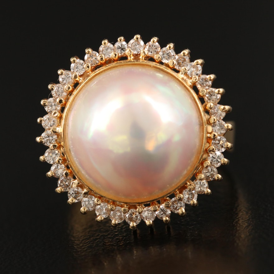 14K 13.00 mm Round Mabé Pearl and Diamond Ring