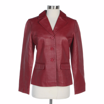 Margaret Godfrey Red Leather Button-Front Jacket with Notched Lapels