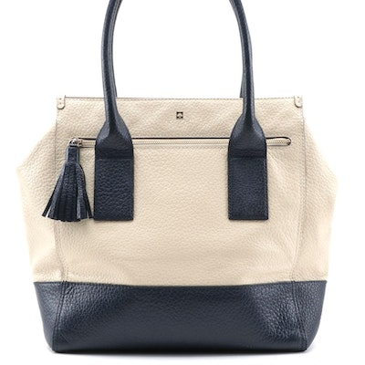 Kate Spade Navy and Beige Pebble Grained Leather Tote with Tassel Zip Pull