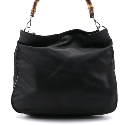 Gucci Bamboo Handle  Two-Way Shoulder Bag in Black Nylon
