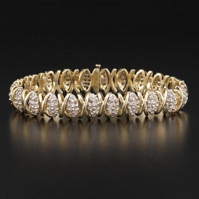 "10K 4.75 CTW Diamond ""X"" Link Bracelet"