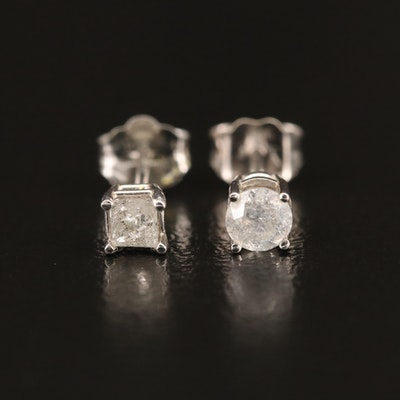 14K 0.10 CT and 0.16 CT Diamond Mismatched Stud Earrings