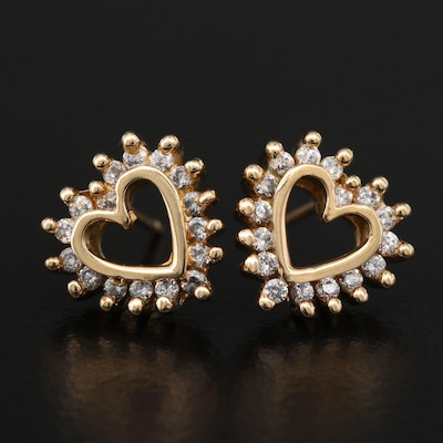 Cubic Zirconia Heart Earrings with 14K Clutches and Posts