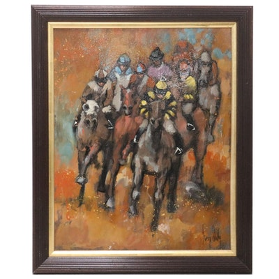 Modernist Style Oil Painting of a Horse Race, Late 20th Century