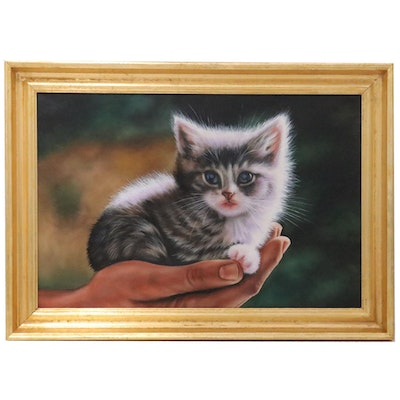 Komko Gennady Hyperrealist Oil Painting of Kitten Resting in Palm, 21st Century