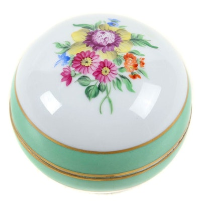 "Herend Hungary ""Vienna Rose"" Porcelain Bonbonniere Box"