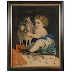 """Hand-Colored Lithograph """"Innocence,"""" Late 19th Century"""