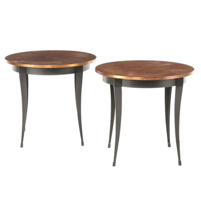 Pair of Ethan Allen Ebonized Metal and Patinated Copper Side Tables