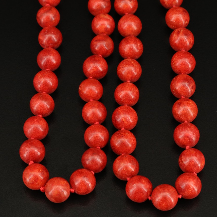 Coral Beaded Necklaces with Sterling Silver Clasps