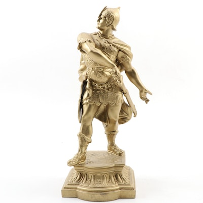 Gilt Painted Spelter Figure of Roman Solider
