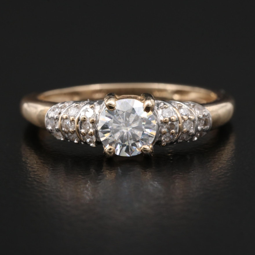 10K Moissanite and Diamond Ring