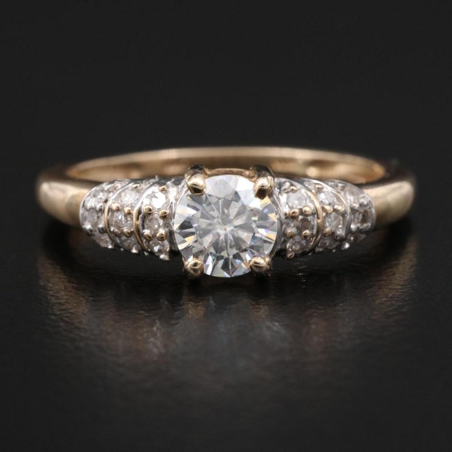 10K Moissanite and Diamond Ring