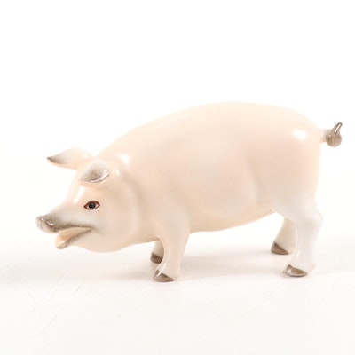 Herend Natural Hand-Painted Porcelain Pig Figurine