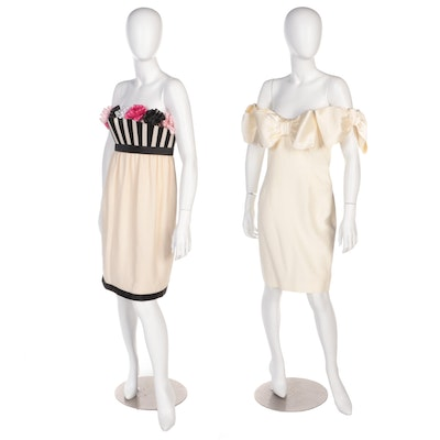 Karl Lagerfeld and Nancy Johnson for I.Magnin Strapless Cocktail Dresses