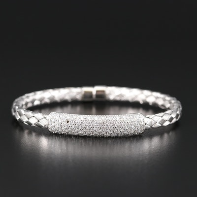 Sterling Silver Woven Style Cuff with Pavé Cubic Zirconia Station