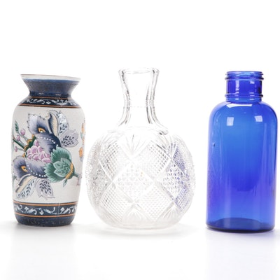 Pressed Glass Vase, Ceramic Vase and Cobalt Blue Glass Vase