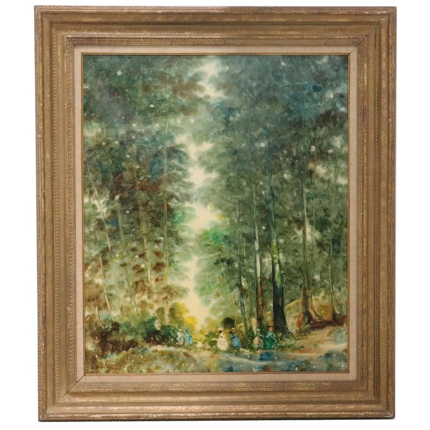 Stefanos Sideris Oil Painting of Young Women Walking Through Forest